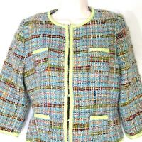 Tibi Tweed Blazer Jacket Career Work Women Size M Green Blue Long Sleeve Lined