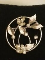 Vintage D'or Sterling Silver Pin Brooch Rhinestone Floral Leaf Flower Theme