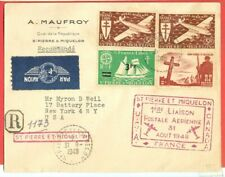 St Pierre Et Miquelon 4 stamp used on Flight / Airmail cover to USA 1948