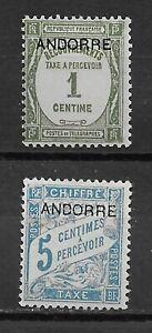 ANDORRA , FRANCE , 1931/33 , POSTAGE DUE ,  SET OF 2 STAMP O.P. , VLH , CV$5.65