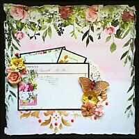 Handmade Vintage Pink and Gold Mixed Media 12x12 Premade Scrapbook Layout Page