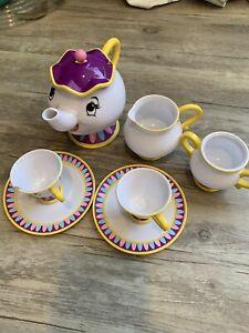 Disney  Beauty and the Beast MRS POTTS & CHIP Play Tea Set w/ Plates Cups  b4