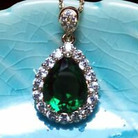 Green Emerald Teardrop Pear Diamond Halo Pendant Necklace 14K Gold