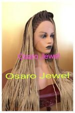 Long Brown ombre  blonde micro braided  lace Front wig. Human hair blend
