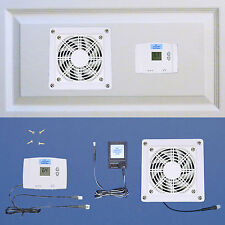 AV Cabinet/Desk cooling fan with digital thermostat (White model) / Home theater