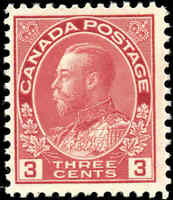Mint NH 1923 Canada F+ 3c Scott #109 King George V Admiral Stamp