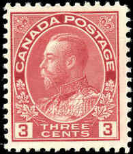 Mint NH 1923 Canada F+ 3c Scott #109 King George V Admiral Stamp