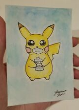 Aceo ORIGINAL Pikachu quarantine watercolor & ink painting Pokemon sketchcard