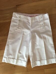 Next Girls White Cotton Wide Leg Cropped Trousers Culottes Age 8