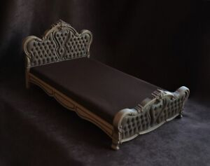Doll bed , retro doll bed , vintage doll bed , Carved doll bed