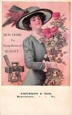 BRATTLEBORO, VT, EMERSON & SON AGENTS NEW HOME SEWING MACHINE ADV PC c. 1907-14