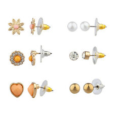 Lux Accessories Floral Flower Pave Heart Faux Pearl Multiple Earring Stud Set