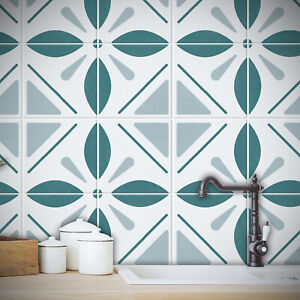 Modern Floral Tile Stickers Transfers Kitchen Bathroom 4 Colour Choices -T24
