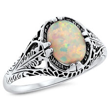 WHITE LAB OPAL ANTIQUE FILIGREE DESIGN 925 STERLING SILVER RING SZ 5,#682