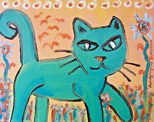 Aquamarine Hunter Cat Art Print 4 x 6 | Collectible Artist KSams | Blue Kitty