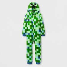 MINECRAFT Costume Pajamas Boys Size 8 Medium One Piece Union Suit Creeper Girls