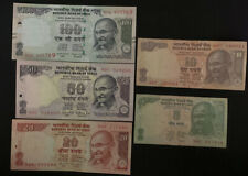 Indian Rupee Currency Paper Money Bank Note 5-10-20-50-100 Set of Circ & AU/BU