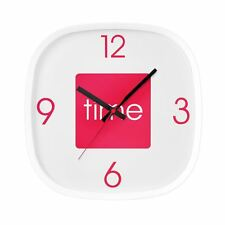 Arco Hot Pink Wall Clock Plastic Square Analogue Display Clock