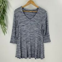 Tianello Womens Pullover Soft Knit Top Size M Blue 3/4 Sleeve Tunic Shirt V-Neck