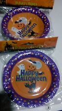 """10 Halloween plates & 10 bowls. Disposable, paper party ware, 7"""" & 6.5""""."""