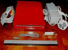 NINTENDO WII Wii RED CONSOLE RVL-001 + LEADS FULLY WORKING IN VGWC REPLACEMENT