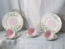 8 QUEEN ANN FINE BONE CHINA TRANQUILLITY PINK ROSE TEA CUPS & SAUCERS