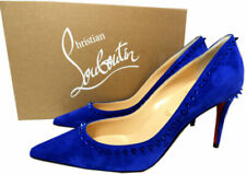 Christian Louboutin ANJALINA 85 Spiked Studs Pumps Blue Suede Heels Shoes 37