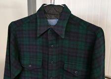 VTG Pendleton 1960's Virgin Wool Black Watch Tartan Green Plaid Shirt Men's 16 L