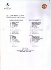 2018/19     Manchester United     v     BSC Young Boys   Teamsheet    MINT