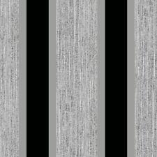 STRIPE WALLPAPER GLITTER METALLIC BLACK / SILVER - E87519