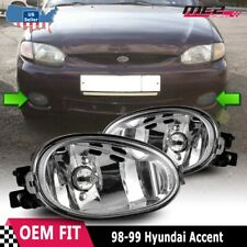 For Hyundai Accent 98-99 Factory Bumper Replacement Fit Fog Lights Clear Lens