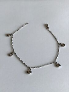 14k White Gold Ankle Bracelet with charms Anklet chain 10 inches