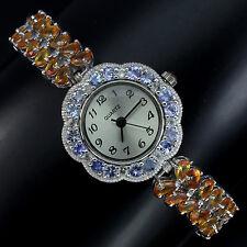 Sterling Silver 925 Genuine Natural Tanzanite & Songea Sapphire Watch 71/2 Inch