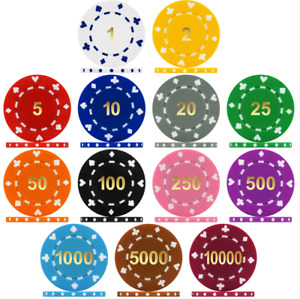 HIGH QUALITY NUMBERED SUITS DESIGN 12g POKER/CASINO CHIPS, CHOOSE FROM DROP-DOWN