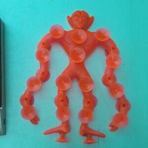 Vintage 70's Mattel NEON ORANGE Suckerman Toy Suction Cup Rubber Monster Figure