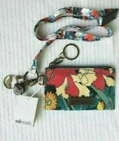 NWT Sakroots ID Lanyard Card Case Keychain Coin Purse Navy Floral Spirit INTL