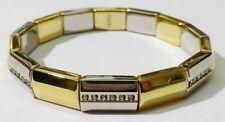 bracelet bijou vintage 2 tons couleur or jaune et blanc cristaux diamant * 3353
