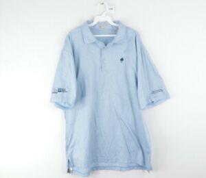 Peter Millar Mens XL Stitched Logo Short Sleeve 3 Button Golf Polo Shirt Blue
