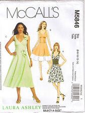Shoulder Strap Dress Midriff Flared Skirt Laura Ashley Sew Pattern 6 8 10 12 14