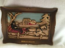 "Vintage 1960s Syroco 3-D Wall Hanging Plaque ""A Winters Ride� 14"" x 10"""