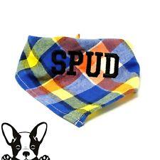 Personalised Handmade Embroidered Dog Bandana Neckerchief Yellow Blue & Red