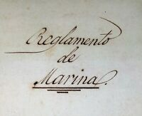 REGULATION OF THE SPANISH MILITARY MARINE AND OTHER DOCUMENTS. SPAIN CIRCA 1859