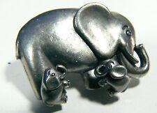Pewter Metal Elephant Stud Earrings & Holder Pin Brooch Set