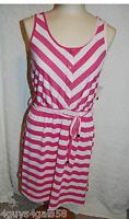 Womens Tank Dress PINK WHITE STRIPE S 4-6 M 8-10 L 12-14 XL 16-18 LACE BACK