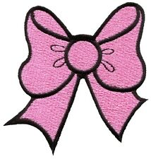Pink bow knot ribbon boho retro sew sewing applique iron-on patch new G-19