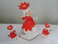 Vintage Napco Poinsettia Trio Girl with Little Girls Chained Christmas Japan HTF
