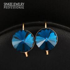Simply Blue/Red/Gray/White Round Rhinestone Earrings For Women Hoop Earring