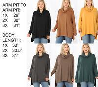 Plus Size Womens Long Sleeve Cowl Neck Turtleneck Tunic Knit Top Blouse Shirt