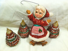 Handmade Mrs Claus and 3 Christmas Trees Decorative Beads Sequins n More