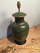 """COUNTRY HOUSE STYLE GREEN CRACKLE GLAZE with GOLD GINGER JAR LAMP 18 1/2"""" TALL"""